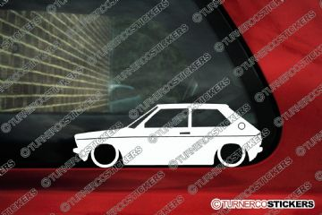 2x Low car outline stickers - for VW Polo MK1 classic volkswagen 1975-1981